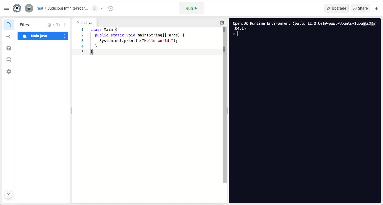 replit java starter code